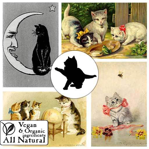 A collection of adorable kittens! These four designs are included in our vegan, organic, all-natural body soap.