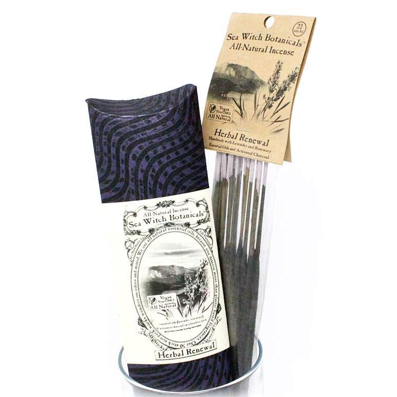 All-Natural Incense: Herbal Renewal - with Lavender & Rosemary Essential Oil-Incense-12 sticks-Sea Witch Botanicals