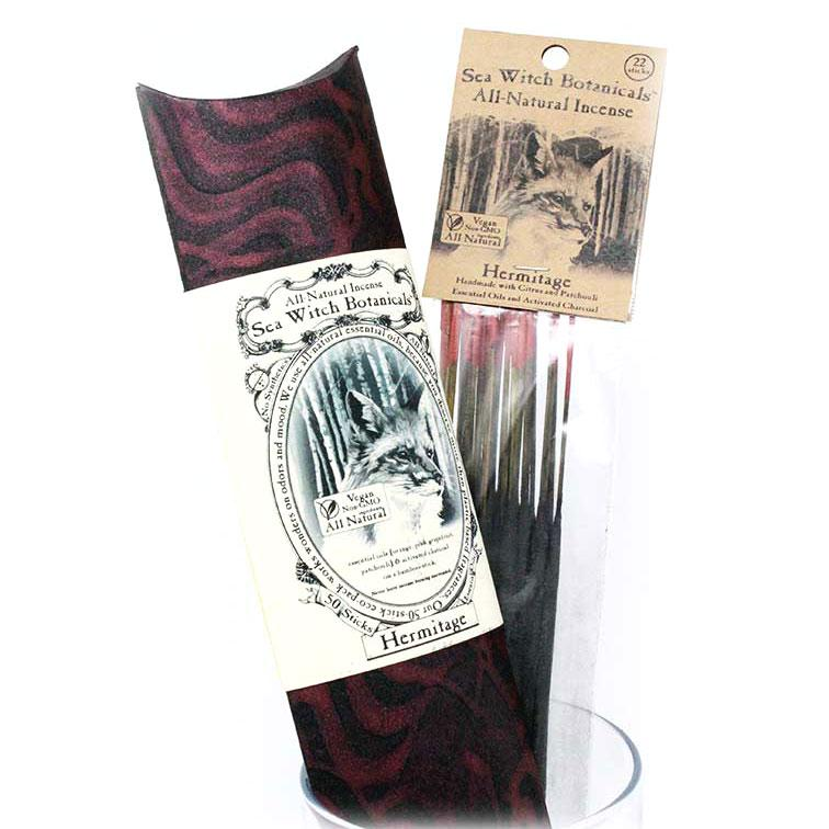 All-Natural Incense: Hermitage - with Patchouli, Pink Grapefruit Essential Oils-Incense-12 sticks-Sea Witch Botanicals