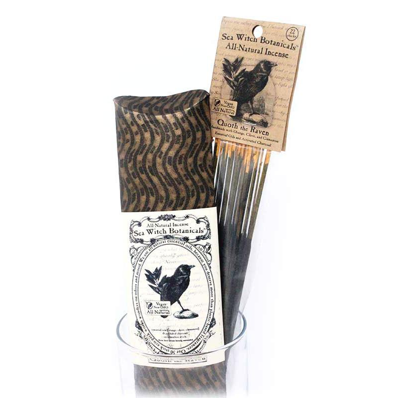 All-Natural Incense: Quoth the Raven - with Orange, Cinnamon, Clove Essential Oils-Incense-12 sticks-Sea Witch Botanicals