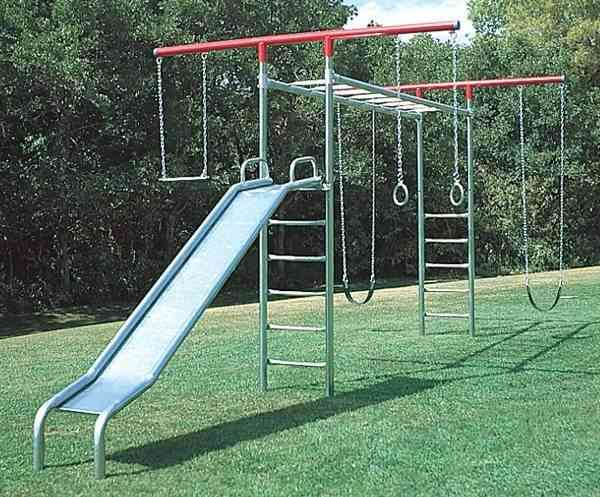 Monkey Bar T-Swing Set with Slide  (Item 4A)