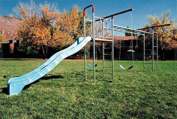 Monkey Bar T-Swing Set with 2' x 3' Deck and Fireman's Pole   (Item 4C)