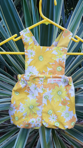 Flower Power Yellow and Orange Bloomer Romper