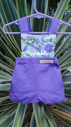 Purple Cotton Bloomer Romper