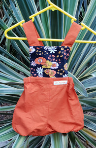 Orange and Black Bloomer Romper