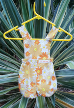 Load image into Gallery viewer, Flower Power Brown and Orange Bloomer Romper