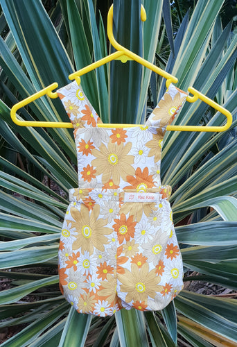 Flower Power Brown and Orange Bloomer Romper