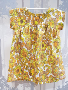 Yellow/Brown Floral Bronte Dress Cotton