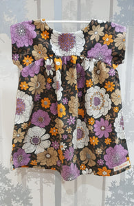 Brown Flower Power Bronte Dress Cotton Blend