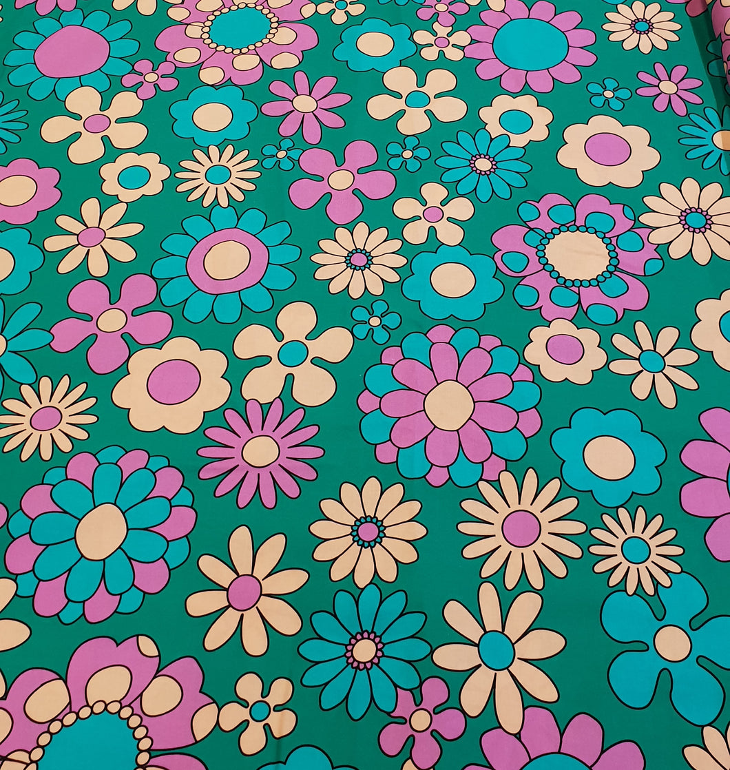 Teal Daisy Cotton Woven 100cm x 145cm (60x60 repeat)