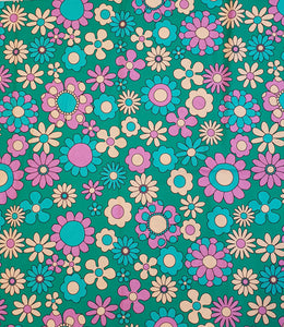 Teal Daisy Cotton Woven 230cm x 145cm (40x40 repeat)