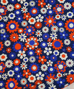 Red Blue Daisy French Terry 250cm x 160cm (40cm x 40cm repeat)