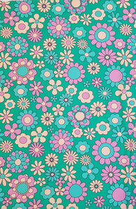 Teal Daisy Cotton Lycra 150cm x 150cm (40x40 repeat)