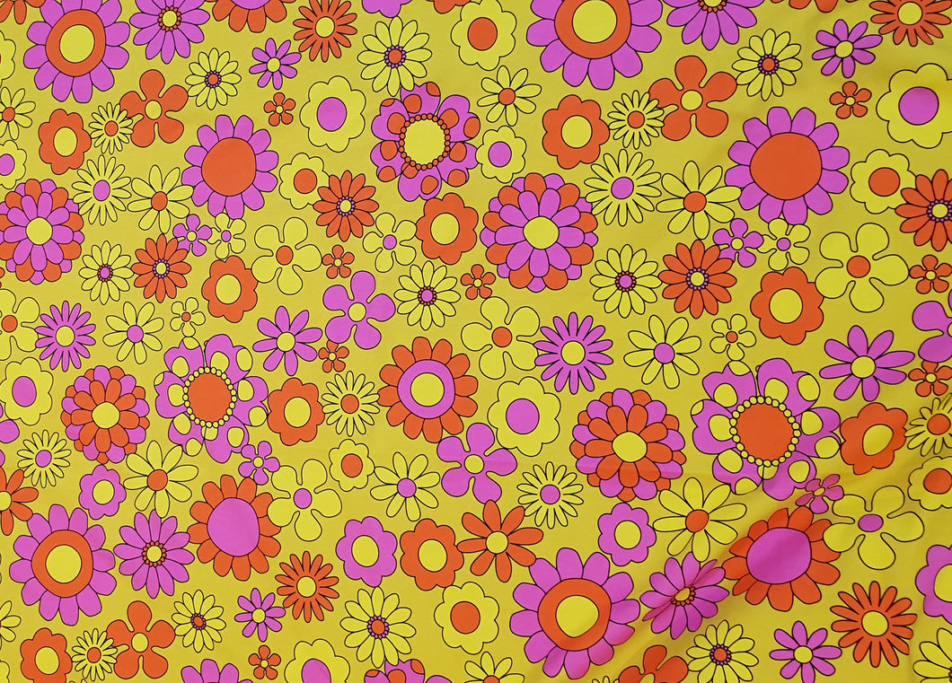 Pink Orange Daisy Cotton Lycra (40cm x 40cm repeat)