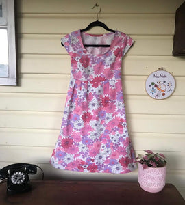 Pink Floral Mummy Dress with Pockets