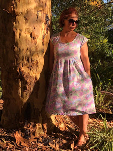 Purple Floral Mummy Dress with Pockets
