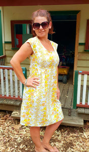 Yellow-Brown Mummy Dress with Pockets