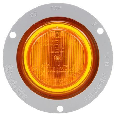 Truck-Lite 10051Y 10 Series, LED, Yellow Round, 2 Diode, M/C Light, P2, Gray Flange, 12V, Kit
