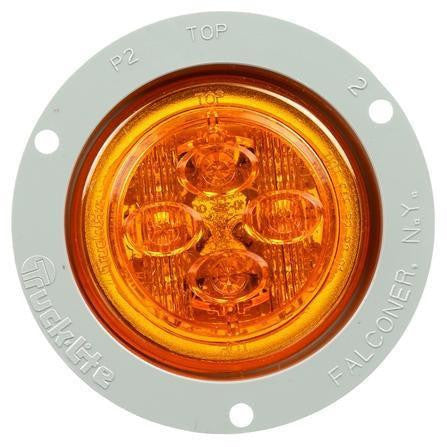 Truck-Lite 10089Y 10 Series, LED, Yellow Round, 8 Diode, Low Profile, M/C Light, PC, Gray Flush Mount, 12V, Kit, Marker Clearance Light, Truck-Lite