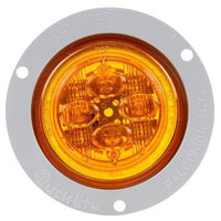 Truck-Lite 10091Y 10 Series, LED, Yellow Round, 8 Diode, Low Profile, M/C Light, PC, Gray Flush Mount, 12V, Kit, Marker Clearance Light, Truck-Lite