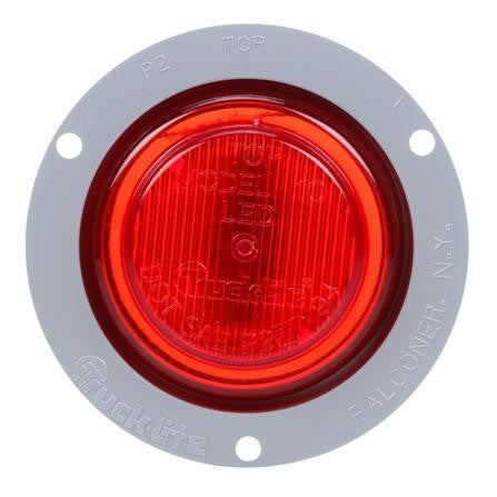 Truck-Lite 10251R 10 Series, LED, Red Round, 2 Diode, M/C Light, P2, Gray Flange, 12V, Marker Clearance Light, Truck-Lite