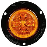 Truck-Lite 10288Y 10 Series, LED, Yellow Round, 8 Diode, Low Profile, M/C Light, PC, Black Flush Mount, 12V, Marker Clearance Light, Truck-Lite