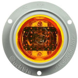 Truck-Lite 10379Y 10 Series, High Profile, LED, Yellow Round, 8 Diode, M/C Light, PC, Gray Flange, 12V, Marker Clearance Light, Truck-Lite