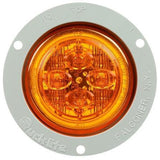 Truck-Lite 10389Y 10 Series, LED, Yellow Round, 8 Diode, Low Profile, M/C Light, PC, Gray Flush Mount, 12V, Marker Clearance Light, Truck-Lite