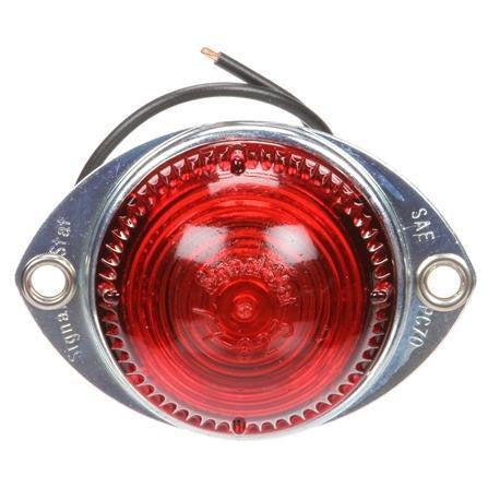 Truck-Lite 1115 Incan., Red Round, 1 Bulb, Low Profile, M/C Light, PC, Silver Flange, 12V