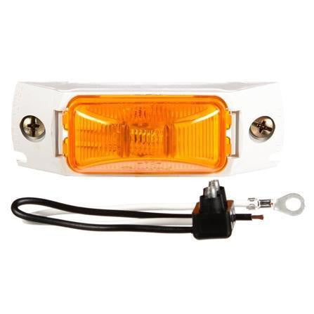 Truck-Lite 15008Y Yellow 15 Series Rectangular 1 Bulb M/C Light PC2, W/White Bracket 12V Kit