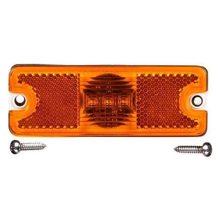 Truck-Lite 18050Y 18 Series, Reflectorized, LED, Yellow Rectangular, 3 Diode, M/C Light, P2, 2 Screw, 12V, Kit
