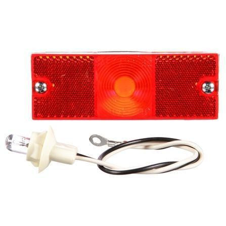 Truck-Lite 18300R 18 Series, Reflectorized, Incan., Red Rectangular, 1 Bulb, M/C Light, P2, 2 Screw, 12V, Kit
