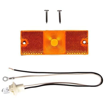 Truck-Lite 18300Y 18 Series, Reflectorized, Incan., Yellow Rectangular, 1 Bulb, M/C Light, P2, 2 Screw, 12V, Kit