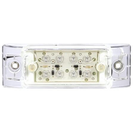 Truck-Lite 2152A LED, Clear/Yellow  8 Diode, Rectangular, M/C Light, P2, 2 Screw, 12V, Marker Clearance Light, Truck-Lite