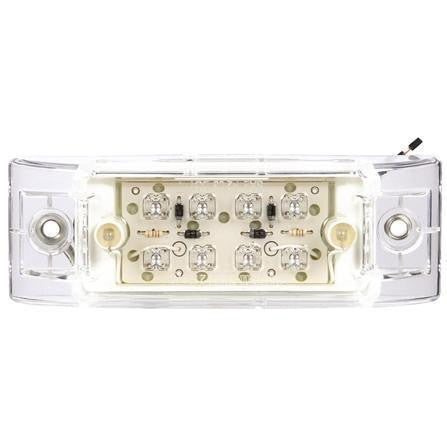 Truck-Lite 2152 LED, Clear/Red  8 Diode, Rectangular, M/C Light, P2, 2 Screw, 12V, Marker Clearance Light, Truck-Lite
