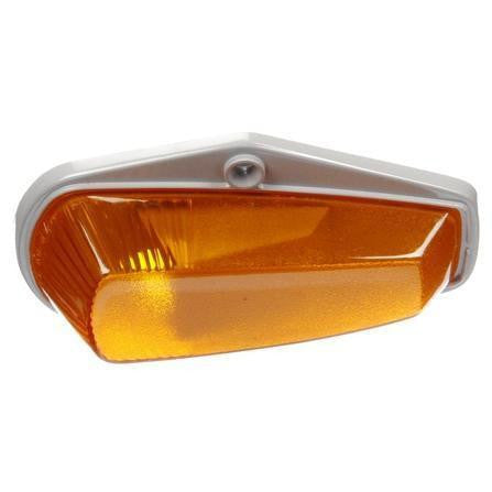 Truck-Lite 25760Y 25 Series, Incan., Yellow Triangular, 1 Bulb, M/C Light, P2, Gray Flange, 12V, Marker Clearance Light, Truck-Lite