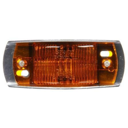 Truck-Lite 26315Y 26 Series, Incan., Yellow Rectangular, 1 Bulb, Armored, M/C Light, P2, Silver Bracket Mount, 12V, Marker Clearance Light, Truck-Lite