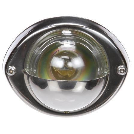 Truck-Lite 26393C Incan., 1 Bulb, Clear, Round, Stepwell Light, Silver Bracket, 12V