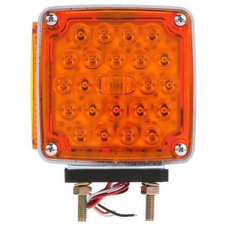 Truck-Lite 2758 Dual Face, RH, Vertical Mount, LED, Red/Yellow Square, 24 Diode, Chrome, 3 Wire, Pedestal Light, LED Clearance Marker Lights, Truck-Lite