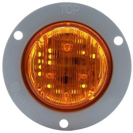 Truck-Lite 30066Y 30 Series, LED, Yellow Round, 3 Diode, European Flush, M/C Light, ECE, Gray Flush Mount, 12-24V, Kit