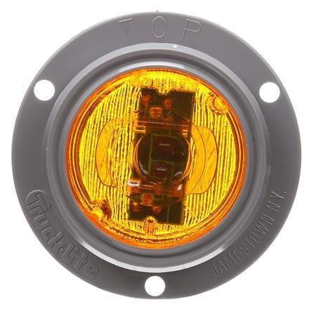 Truck-Lite 30071Y 30 Series, LED, Yellow Round, 2 Diode, Low Profile, M/C Light, P3, Gray Flush Mount, 12V, Kit