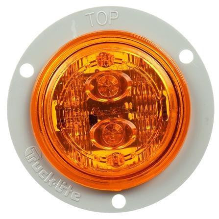 Truck-Lite 30386Y 30 Series, LED, Yellow Round, 6 Diode, Low Profile, M/C Light, PC, Gray Flange, 12V, Marker Clearance Light, Truck-Lite
