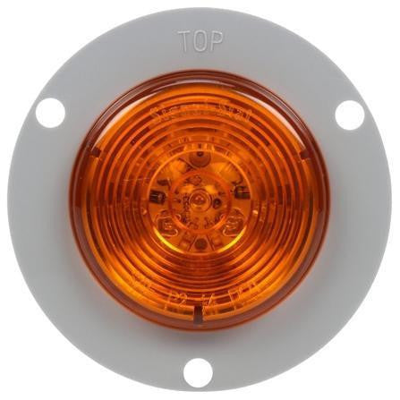 Truck-Lite 3053A LED, Amber Round, 10 Diodes, M/C Light, P2, Gray Flange Mount, 12V