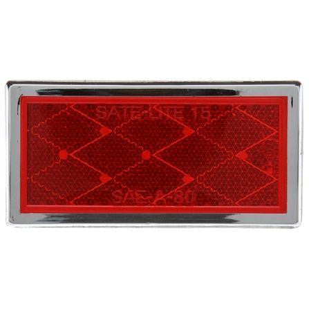 Truck-Lite 32 Rectangle, Red, Reflector, Chrome Acrylic Adhesive