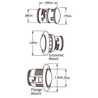 Truck-Lite 33067R 33 Series, LED, 1 Diode, Red, Round, Aux. Light, Chrome Flange, 12V, Kit