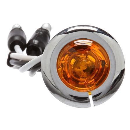 Truck-Lite 33067Y 33 Series, LED, 1 Diode, Yellow, Round, Aux. Light, Chrome Flange, 12V, Kit
