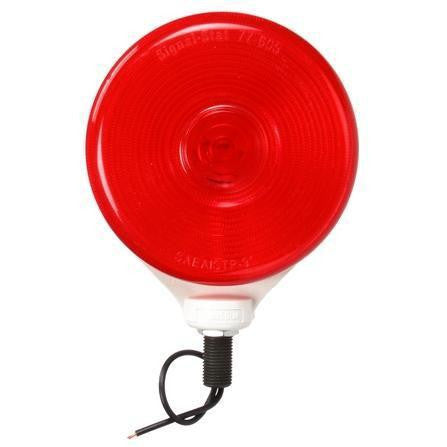 Truck-Lite 3753 Single Face, Snap on Lens, Incan., Red Round, 1 Bulb, White, 1 Wire, Pedestal Light