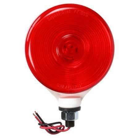 Truck-Lite 3754 Single Face, Incan., Red Round, 1 Bulb, White, 2 Wire, Pedestal Light