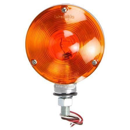 Truck-Lite 3810 Dual Face, Incan., Red/Yellow Round, 1 Bulb, Gray, 3 Wire, Pedestal Light