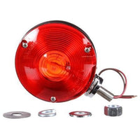 Truck-Lite 3812 Dual Face, Red/Yellow Incan. Round 1 Bulb, Chrome, 2 Wire, Pedestal Light